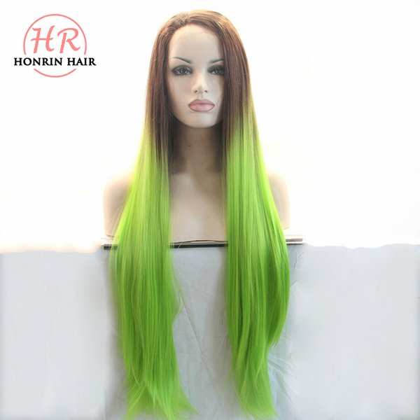 Honrin Hair Long Silky Straight Two Tones Color Ombre Synthetic Lace Front Wigs Brown To Green Heat Resistant Fiber Fully Hair