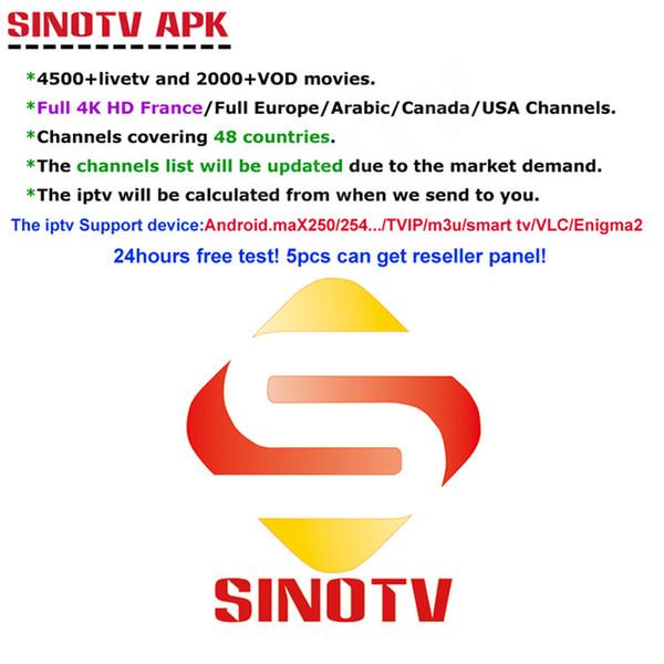 1 año SINOTV 4K HD Canales europeos Latinos Americanos EE. UU. Canadá IPTV Suscripción Francés Árabe Español Portugal TV Paquete M3U