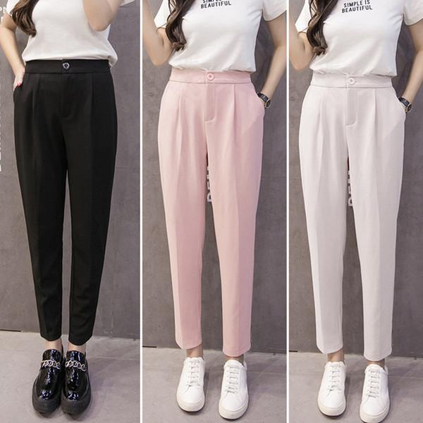 Summer Autumn Fahion Lady Casual Chiffon Pants Women trousers Work Wear Career Black Harem Pants Female Formal Suit Pants S-3XL S18101606