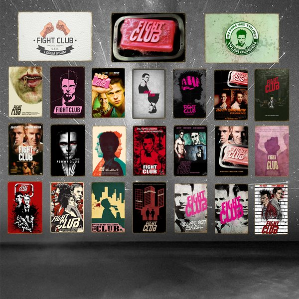 Brad Pitt Fight Club Retro Movie Metal Poster Vintage Home Pub Cinema Bar Furnishing Decoration Wall Picture Tin Signs YD036