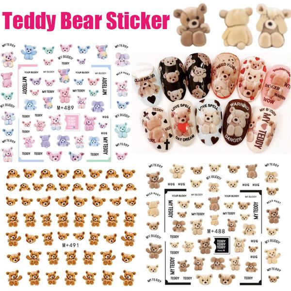 3D Nails Art Sticker Colorful Teddy Bear Lovely Little Bear Harajuku Fantacy Nail Wraps Sticker Decorations Tools