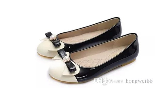 Large size shoes shoes new all-match flat round women's shoes foot wide mouth