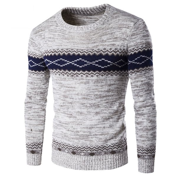 best selling 2017 New Arrivals Pull Homme Men Sweater Brand O Collar Patchwork Keep Warm Casual Slim Fit Mens Sweaters Pullovers XXL