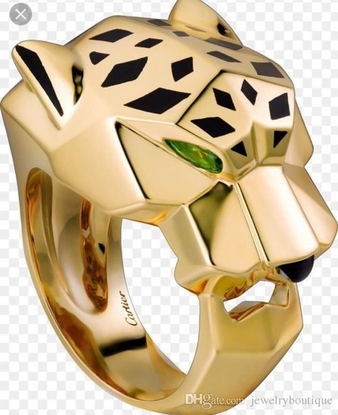 Uphot Luxurious style ring with green diamondsleopard head design for women and man wedding ring jewelry gift PS5561