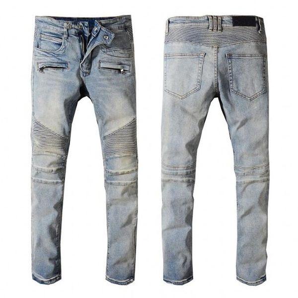 best selling New Men Designer jeans brand Motorcycle Biker Skinny jeans 100%cotton rivet Men's fashion crime zipper pants Distressed Ripped Jeans black