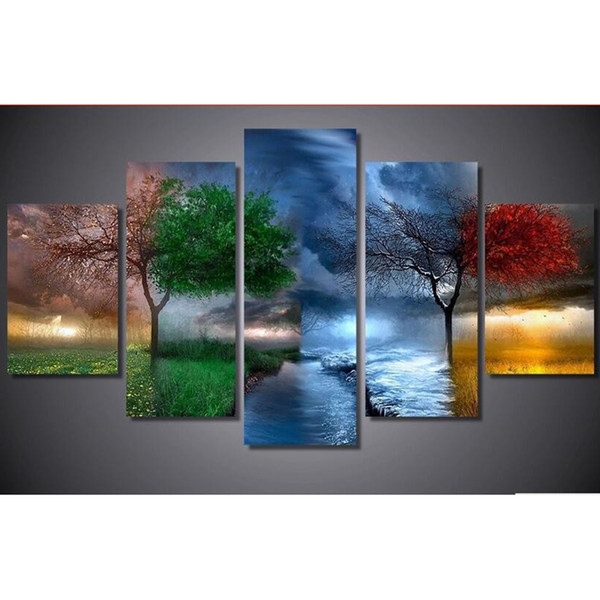 Cena da árvore da estação quatro, pintura diamante, quadrado cheio / redondo, bordado, multi fotos 5 pçs / set, diamante Mosaico YF1485