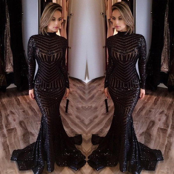 Hot Sale Cheap Long Evening Dresses High Neck Long Sleeves Floor Length Memraid Prom Party Dresses Formal Evening Gowns Custom Made