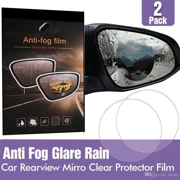 Su geçirmez Araba Dikiz Aynası Temizle Koruyucu Film Otomobil SUV Dikiz Yağmur Geçirmez Anti Sis Parlama Önleyici 2 Adet Membran Retailbox Aicoo