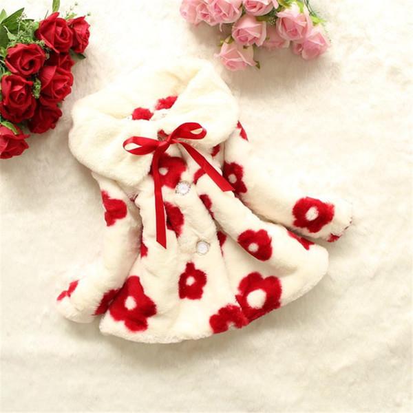 Cappotto invernale da 1 a 4 anni Baby Sun Flower Cappotto con visiera in pelliccia sintetica Cappotto con risvolto casuale Giacche di pelliccia per bambini