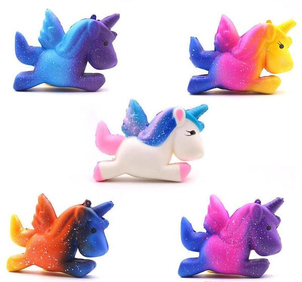 Dhl libera il trasporto colorato cielo stellato unicorno squishy arcobaleno cavallo volante lento aumento morbido spremere telefono charms giocattoli di decompressione