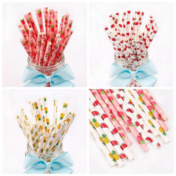best selling 100pcs lot Disposable Bubble Tea Drinking Paper Straw Flamingo Party Straws Watermelon Pineapple Strawberry Baby Feeding AAA766