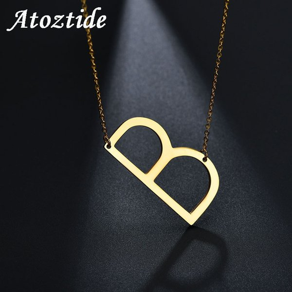 Atoztide Engraved Words Letter B Initial Necklace Women Gold Chain Capital Necklace & Pendant Custom Nameplate Friendship Gift