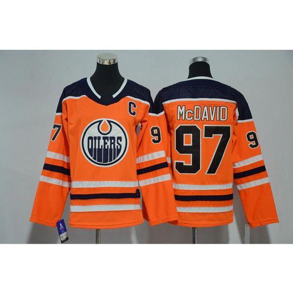 Mens Edmonton Oilers Connor McDavid casa longe laranja azul branco hóquei Jersey todos os jogadores em