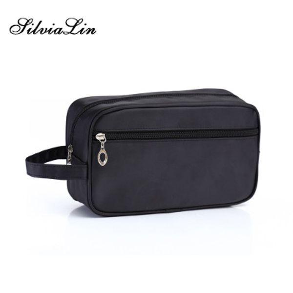 Men Travel Cosmetic Bag Trunk Makeup Case Zipper Solid Make Up Handbag Necessaries Organizer Storage Pouch Toiletry Wash Box