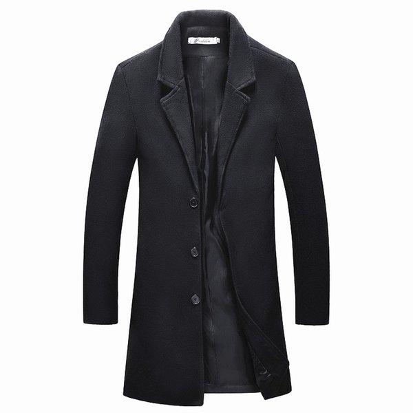 top popular 2018 Medium Long jackets Men's casual thicken woolen trench coat business coats winter Male solid color Slim fit overcoat 2021