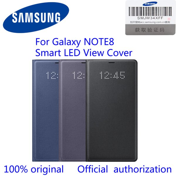 online retailer 99192 e17c2 2019 100% Original Official Samsung Galaxy Note8 LED View Wallet Case N950F  EF NN950P N8 Led View Cover Black/Deep Blue/Orchid Gray From Shuangyin003,  ...