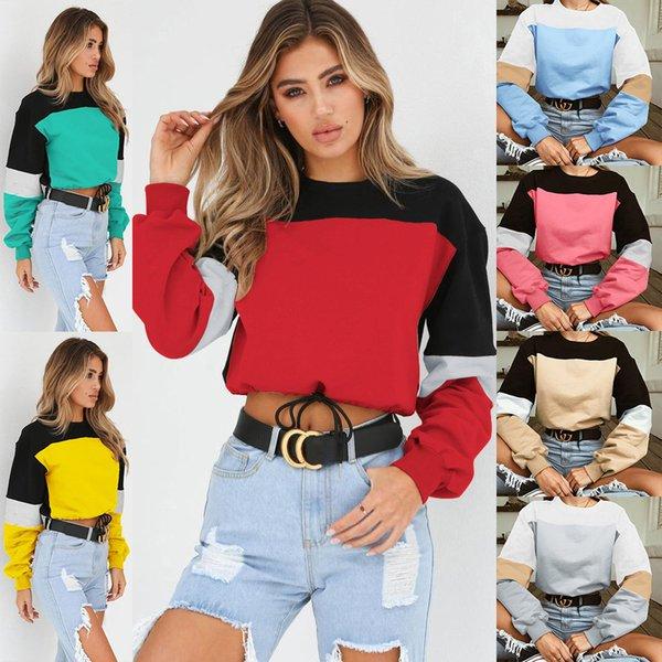 Women Autumn Crop Top Sweatshirt Long Sleeve Lace Up Loose Casual Pullovers