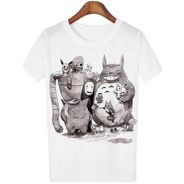 Wholesale-Fancy Fashion New 2016 Cute Totoro T shirt Women Cartoon 3D Harajuku Casual Tops Tees Blusa O Neck T-shirt camisetas WMT93