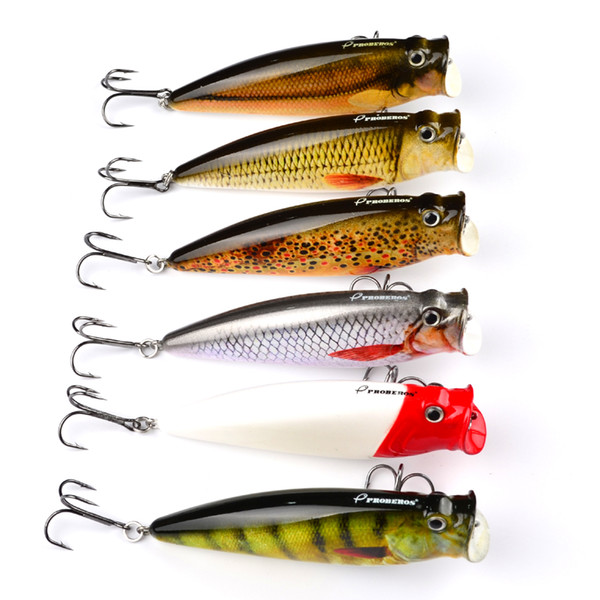 "6Pcs Proberos Brand Fishing Lure 3.74"" 9.5Cm Fishing Tackle 16.65G Popper Lure Set 6 Color Fishing Bait Hard 4# Hook"