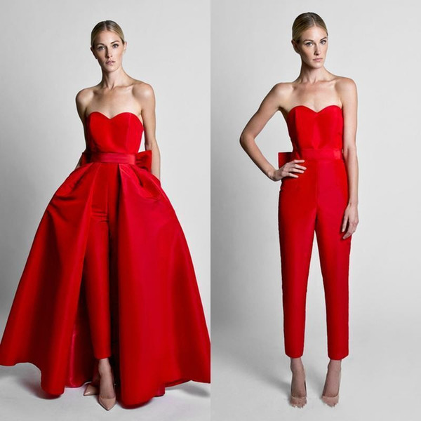 top popular Krikor Jabotian Red Jumpsuits Formal Evening Dresses With Detachable Skirt Sweetheart Prom Dresses Party Wear Pants for Women Custom Made 2019