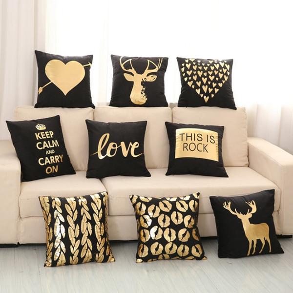 Christmas Cushion Covers Bronzing Decorative Pillow Case Soft Black Throw  Pillowcases Xmas Sofa Seat Car Home Decor 12 Designs YW1489 Pillowcases And  ...
