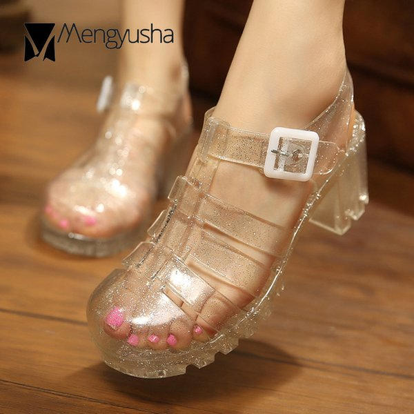 famous brand thick high heels jelly shoes woman glitter transparent sandals cover toe cutout gladiator sandalias rain shoes c686