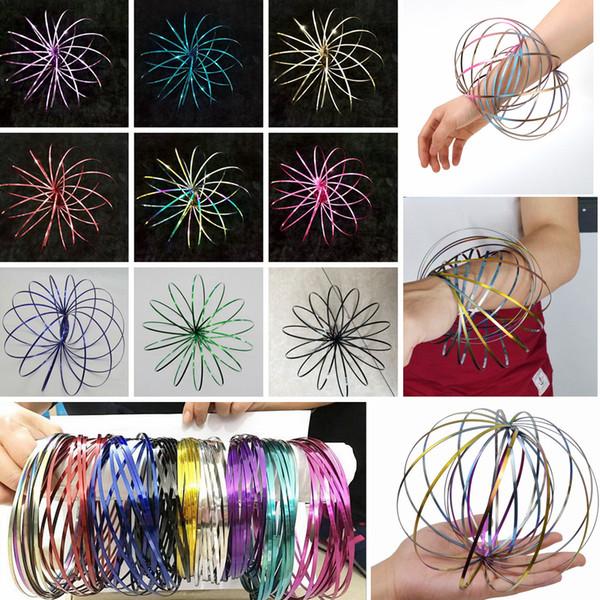 best selling Colorful Flow Rings Spinner Toroflux Stainless Metal Flow Rings Arm Interactive Cool Toys Kinetic Bracelet Science Educational Tool AAA75