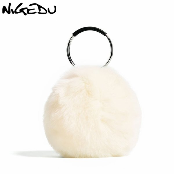 5955c6bb23ea NIGEDU Марка дизайн искусственного меха женщины сумочка роскошные кольца  партии вечерняя сумка высокого качества кролика волос