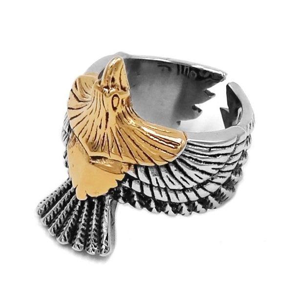 whole saleGold Eagle Biker Ring 316L Stainless Steel Jewelry USA Animal Ring Spirit of Eagle Motor Biker Men Rings Wholesale SWR0753