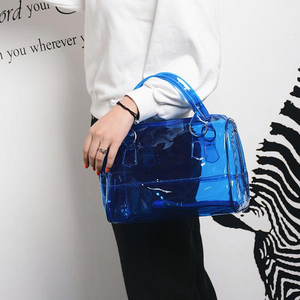 2018 été nouveau sac de mode coréenne moyenne Jelly Candy couleur Transparent Crystal Bag Tote Tide Tide