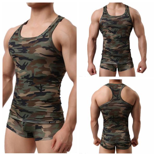 Camouflage sous-vêtements pour hommes Slim Armée Hommes Vert Camo Stretch Fitness Bodybuilding Sous-chemises Nouvelle Arrivée