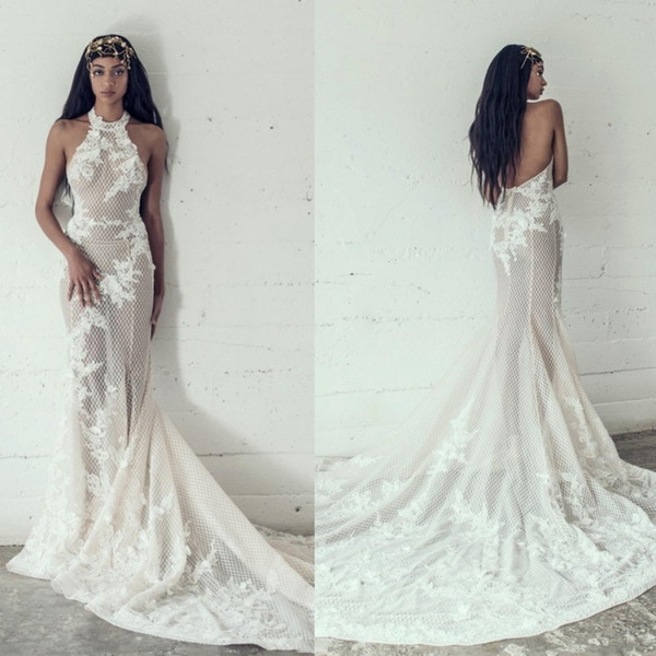 2019 Adam Zohar Wedding Dresses Mermaid Applique Lace Tulle Halter Illusion  Bodice Backless Plus Size Bridal Gowns Bridal Party Dresses Champagne ...
