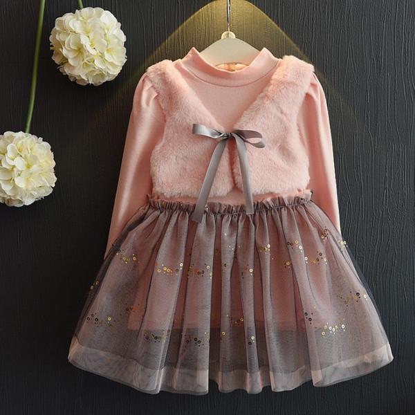 Robes de filles robe 2018 automne et hiver filles coréennes faux deux petite veste en maille couture couture robe X-1094
