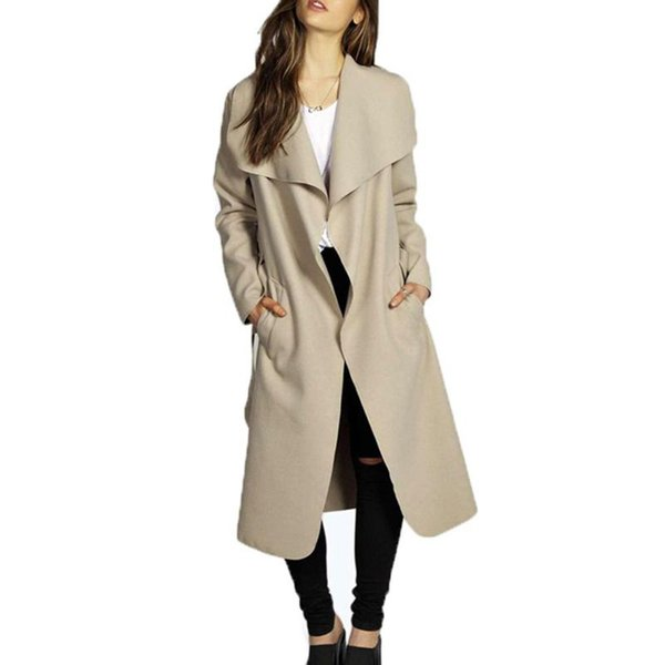 2018 Plus Size Blue Khaki Red Black Coats for Ladies Fall Winter Coat Women Full Sleeve Tweed Slim Long Coat with Sashes H9