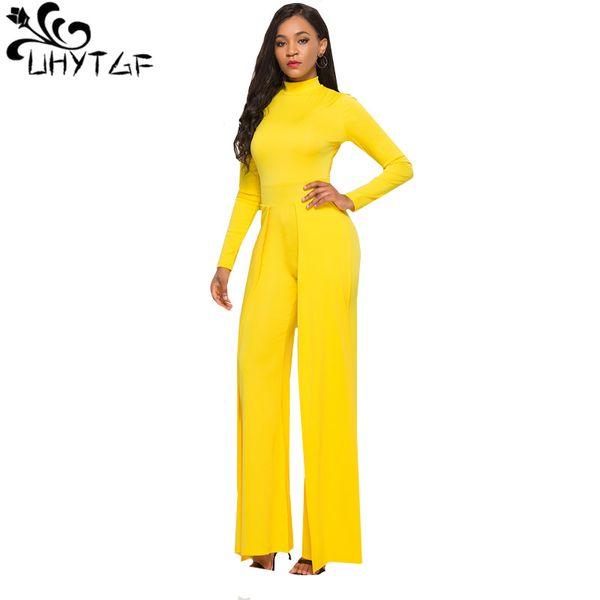 UHYTGFFashion Jumpsuit Women Rompers Summer 2018 Long Elegant Ladies Long sleeves top and Wide leg pants trousers Jumpsuit 515