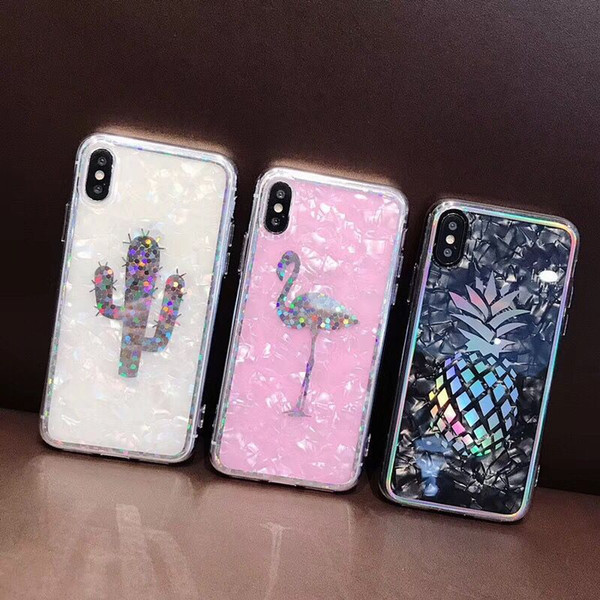 YunRT Laser Shell Pineapple Flamingo Cactus Soft Phone Case For iPhone X 6 6S 7 8 Plus Fashion Cute Cartoon Back Cover HOT