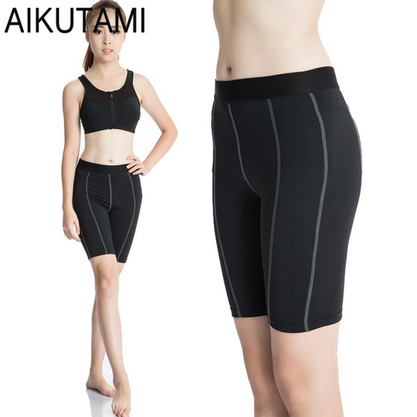 AIKUTAMI Compression Shorts Women Solid Run Fitness Gym Bodybuilding Bike Running Tights Mujer Cortos Training Large Size