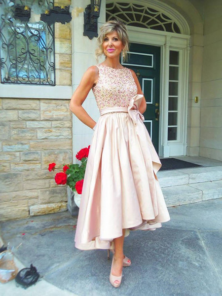 2018 Tea Length Mother Of The Bride Dresses A Line Jewel Beaded Sequined Top With Sash Satin Party Dress Simple Pink Prom Gowns