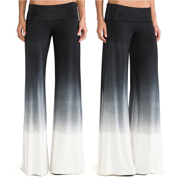 Hot Women's Casual Stretch Pants Wide Leg Long Bohemian Loose Palazzo Trousers Black White Loose