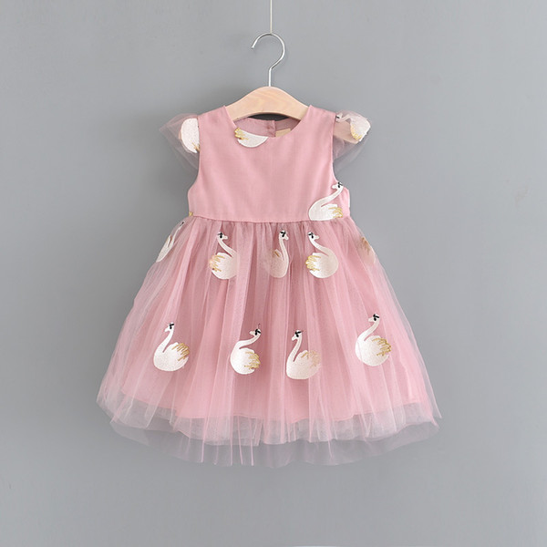 Bambini Abiti 2018 Estate Ricamo Swan Design Baby Dress Princess Party Dress Baby Girl vestiti Cute Girls Abiti Toddler Girl Clothes