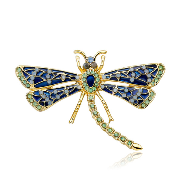 Gold Tone Alloy Amazing Dragonfly Brooch with enamel Exquisite Buckle Pin For Women Hot Selling Lapel Pin For Men And Women