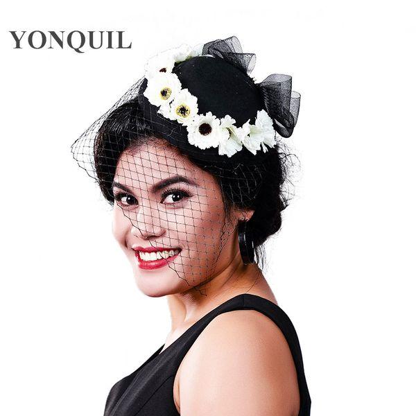 Women Fancy Feather black beauty Fascinator Headwear Wedding Hats and Fascinators White Net Hair Accessories for Bridal Woman MD16014