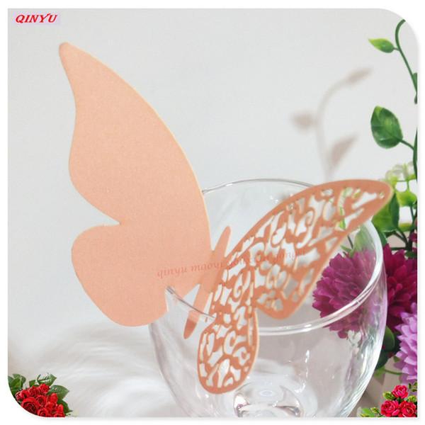 50 pc perle carte de papier papillon tasse carte vin en verre tasse coupe au laser anniversaire invitations de mariage fournitures de mariage 5Z