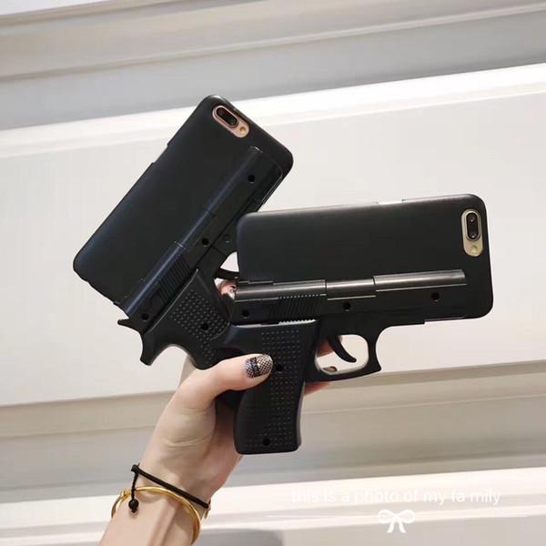 Cubierta rígida de la caja de Shell del teléfono de la forma del arma 3D para el iPhone 5S 6 6S 7 8 más X XS XR MAX