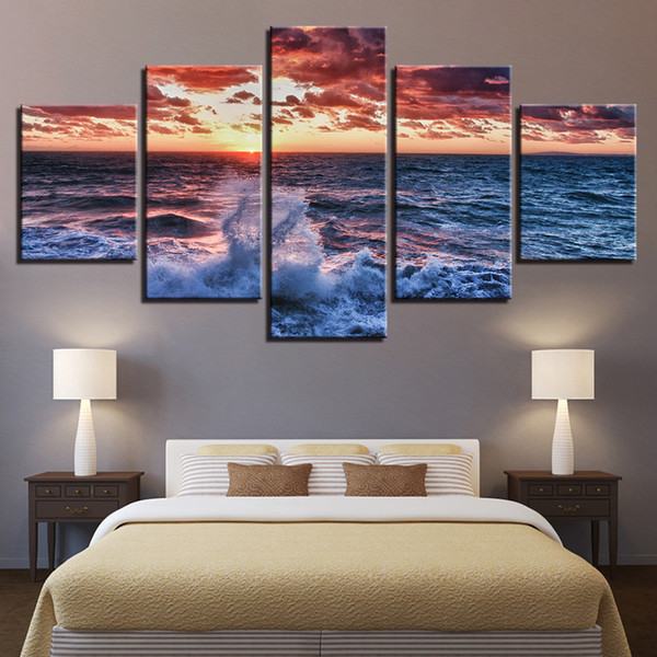 Canvas Paintings Wall Art Framework HD Prints Posters 5 Pieces Sunset Surged Sea Waves Seascape Pictures Living Room Home Decor