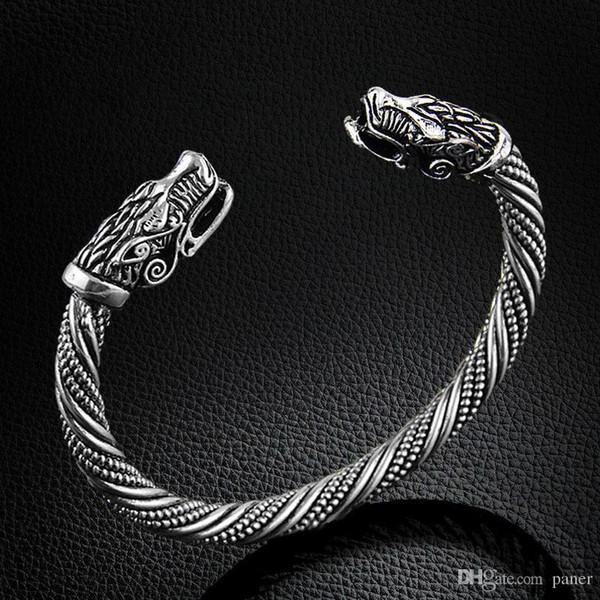 Großhandel Wholesale LAKONE Teen Wolf Kopf Armband Indischen Schmuck Mode Accessoires Viking Armband Männer Armband Manschette Armbänder Für Frauen