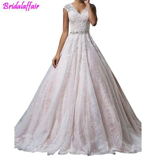 Vestido de novia 2019 con tallas grandes para mujer vestido de novia con cuello en V, línea Apliques de encaje, manga transparente, espalda transparente