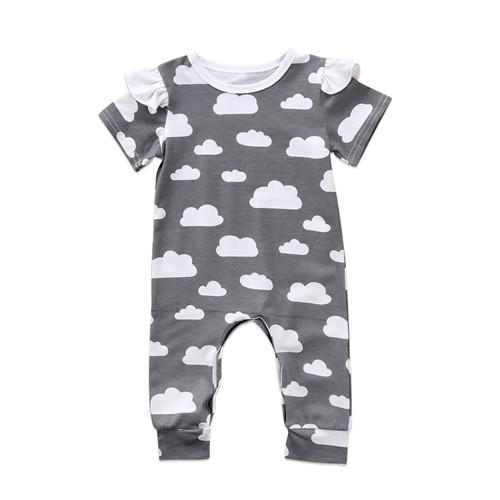 Newborn Kids Baby Girls Boys Outfits Clouds Playsuit Romper Long Sleeve Hat Jumpsuit Autumn Cotton Boy Girl Clothes Set