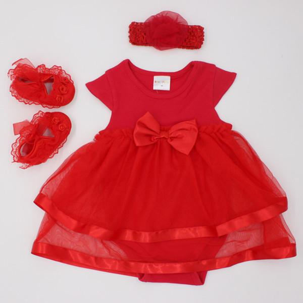 2018 Prenses Tarzı Yenidoğan Bebek Kız Giysileri Set Dantel Romper Elbise + Yay Bandı + Ayakkabı Sonbahar Noel 0-24 M Kızlar için Setleri