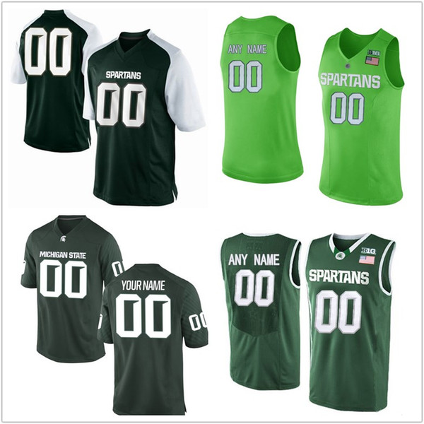 95fde7b2ae9 2018 NCAA Men s Custom Michigan State Spartans College football jerseys  Green White Stitched Personalized Basketball Jerseys